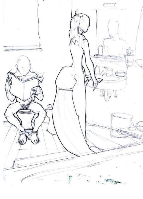 fantasma di dama in bagno con tamarro matita su carta