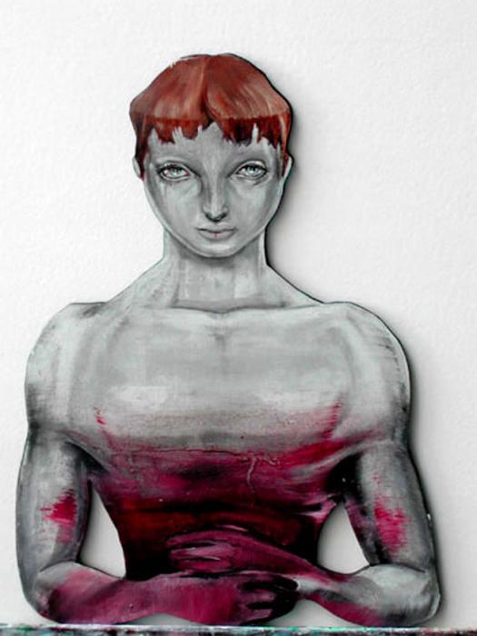 Blood paint- Autoritratto insanguinato sangue e olio su tavola sagomata