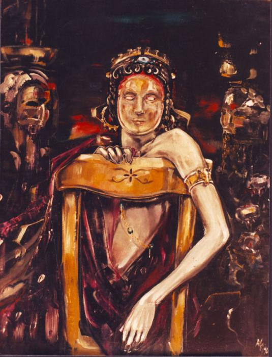 Caligola con maschera d'oro olio su legno