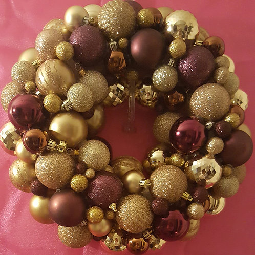Bordeaux & Bubbles Holiday Wreath