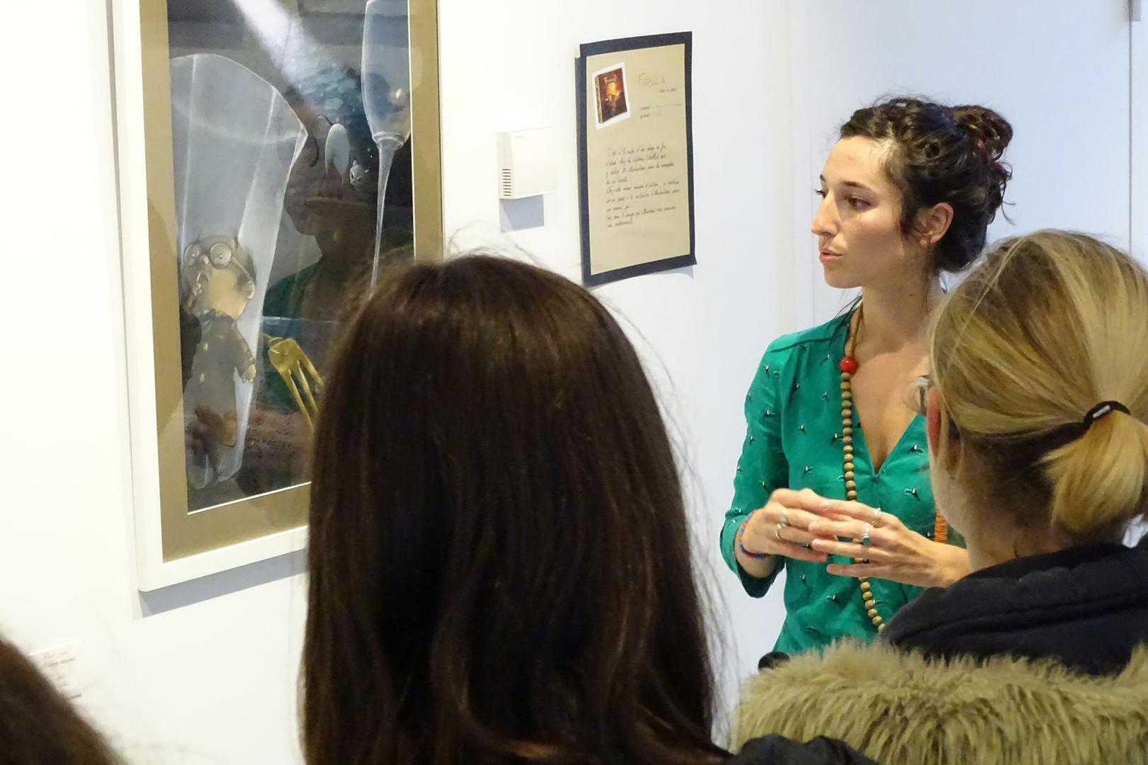Rencontre avec des élèves de collège durant une exposition à la médiathèque de Pontchâteau (44)