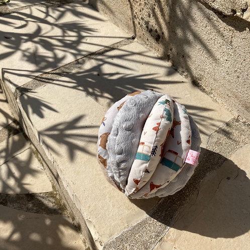 Balle de Préhension - 5 DISQUES - GRIS Animaux s avec grelot et pouet pouet