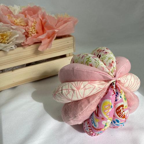 Balle de Préhension - 5 DISQUES - ROSE fleurs avec grelot et pouet pouet