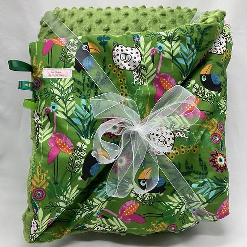 Couverture JUNGLE en tissu doux Minky et coton, env. 97 x 75cm