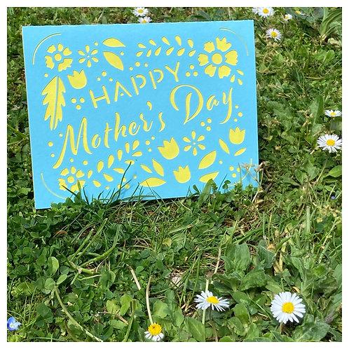 Carte BONNE FETE MAMAN - Happy Mother's Day - BLEU fond JAUNE