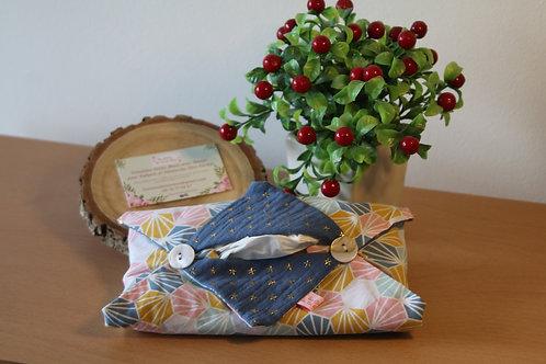 Etui en tissu coton de Mouchoirs en Papier - bleu nuit et origami