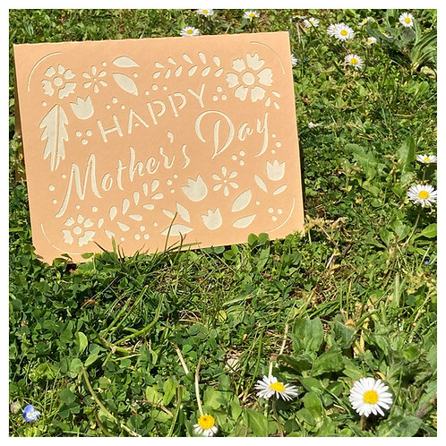 Carte BONNE FETE MAMAN - Happy Mother's Day - ORANGE