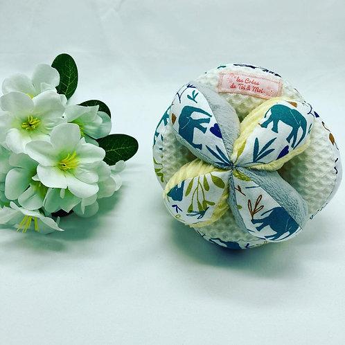 Balle de Préhension - MONTESSORI - GRIS JAUNE BLANC savane avec grelot