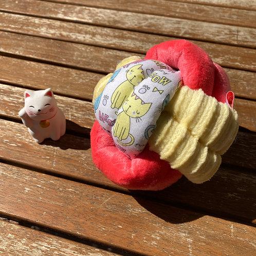 Balle de Préhension - NOEUD DOUBLE - CHAT rigolo jaune & rose flashi avec grelot