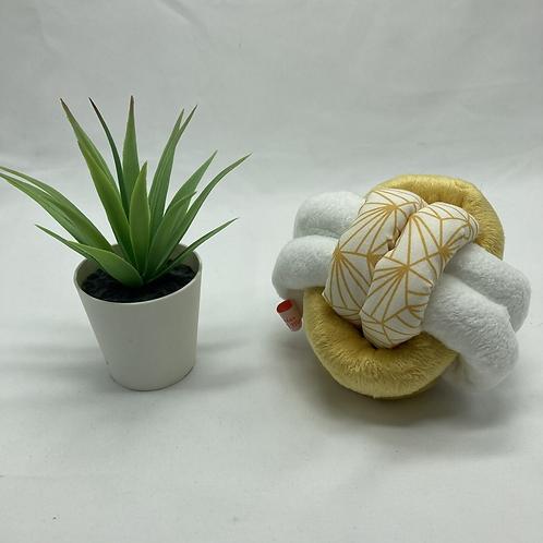 Balle de Préhension - NOEUD DOUBLE - JAUNE BLANC origami jaune avec grelot