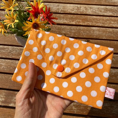 15x10cm - Grande Pochette Origami en Tissu Coton - ORANGE A POIS