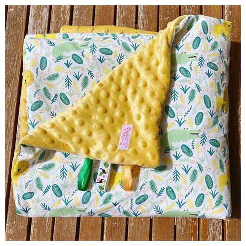 Couverture LION & CROCODILES en tissu doux Minky et coton, env. 92x72cm