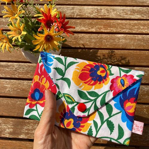 15x10cm - Grande Pochette Origami en Tissu Coton - FLORAL MULTICOLORE