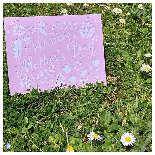 Carte BONNE FETE MAMAN - Happy Mother's Day - VIOLETTE