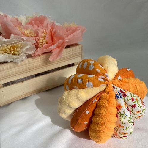 Balle de Préhension - 5 DISQUES - ORANGE fleurs ronds avec grelot et pouet pouet