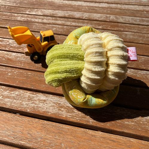 Balle de Préhension - NOEUD DOUBLE - PRAIRIE jaune vert avec grelot