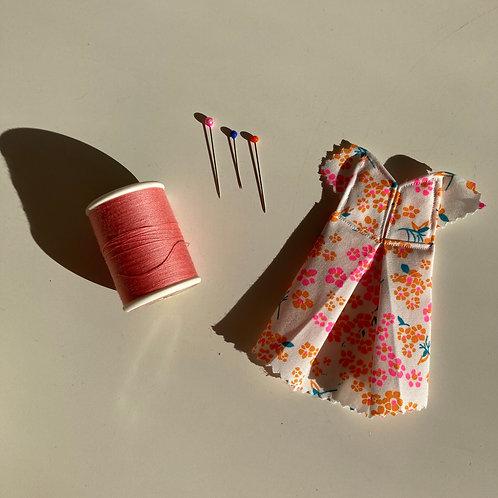 10,5cm x 7,5cm - ROBE Origami - FLEURS ORANGES ET ROSES FLUO
