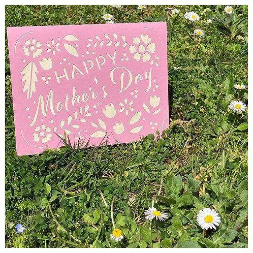 Carte BONNE FETE MAMAN - Happy Mother's Day - ROSE