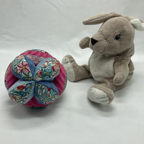 Balle de Préhension - MONTESSORI - BLEU ROSE bouquet fleurs avec grelot