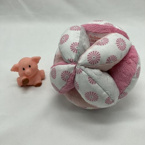 Balle de Préhension - MONTESSORI - ROSE GRIS rond rose avec grelot