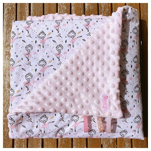 Couverture DANSEUSES ROSES en tissu doux Minky et coton, env. 92x72cm