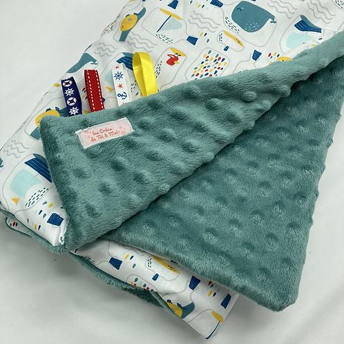 Couverture SOUS L'OCÉAN en tissu doux Minky et coton, env. 95x70cm