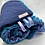 Thumbnail: Couverture FLEURS BLEUES en tissu doux Minky et coton, env. 100x150cm