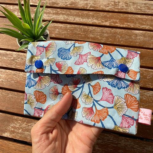 15x10cm - Grande Pochette Origami en Tissu Coton - GINGKO BLEU