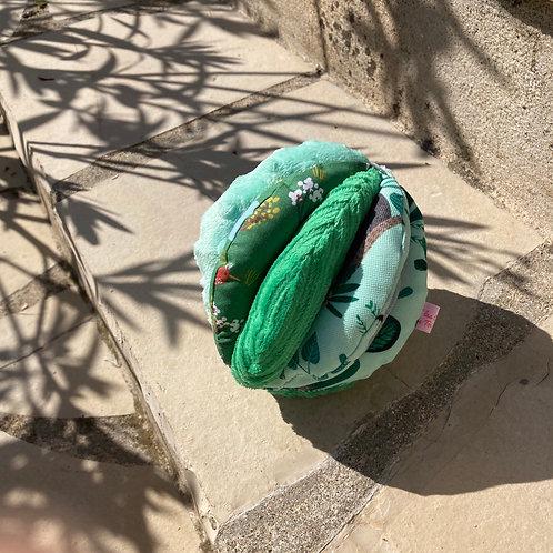 Balle de Préhension - 5 DISQUES - VERT Animaux savane avec grelot et pouet pouet