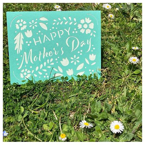 Carte BONNE FETE MAMAN - Happy Mother's Day - VERT