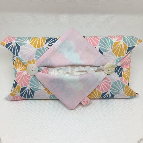 Etui en tissu coton de Mouchoirs en Papier - nuage rose et origami
