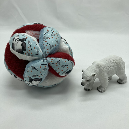 Balle de Préhension - MONTESSORI -  BLEU ROUGE BLANC Panda avec grelot