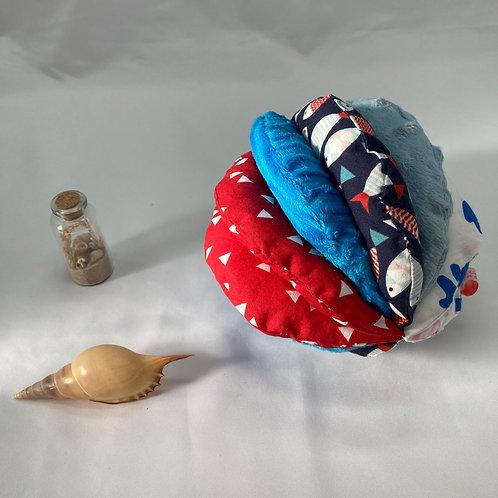 Balle de Préhension - 5 DISQUES - BLEU ROUGE mer avec grelot et pouet pouet