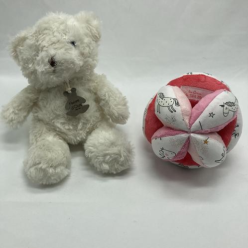 Balle de Préhension - MONTESSORI - 3 ROSES licorne phosphorescente avec grelot