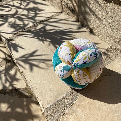 Balle de Préhension - MONTESSORI - BLEU JAUNE savane avec grelot