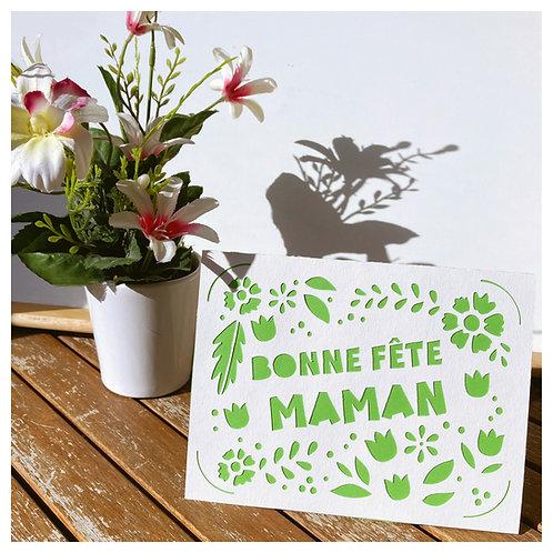 Carte BONNE FETE MAMAN - Happy Mother's Day - BLANC fond VERT
