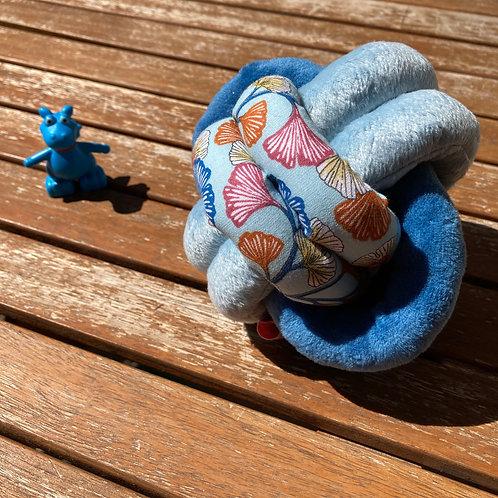 Balle de Préhension - NOEUD DOUBLE - GINGKO double bleu avec grelot