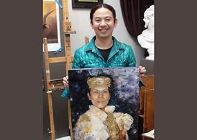 Tim with artwork at Kline Academy