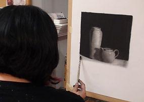 Geraldine with artwork at Kline Academy