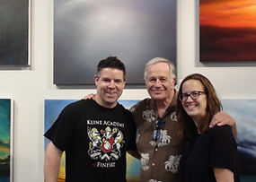 Brett with artwork at Kline Academy