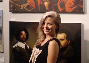 Emily with artwork at Kline Academy