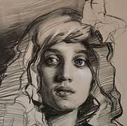Teresa Oaxaca, Charcoal on toned paper