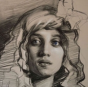 Teresa Oaxaca, Charcoal on toned paper