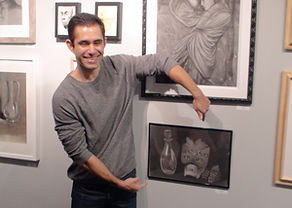 Kevin with artwork at Kline Academy