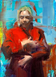 Red Coat, Oil and Acrylic on Canvas