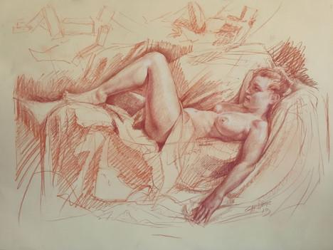 Reclining Nude (Drawing) by Thomas Garner