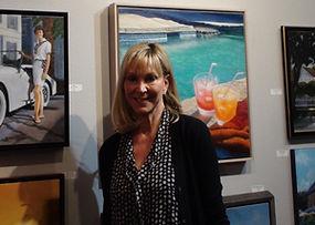 Cecelia with artwork at Kline Academy
