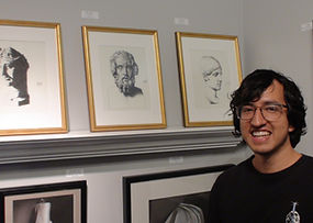 Robert with artwork at Kline Academy