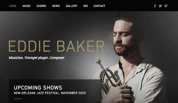 Solo Artist website templates – Jazz Musician