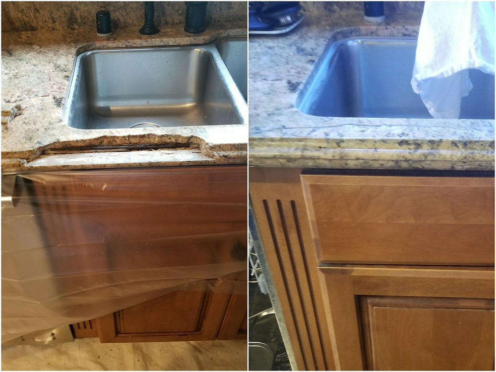 Granite Crack Repair with epoxy and polish